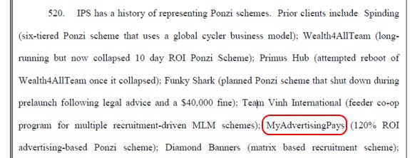 MyAdvertisingPays (MAPS) is referenced in this TelexFree-related class-action complaint. Red highlight by PP Blog.