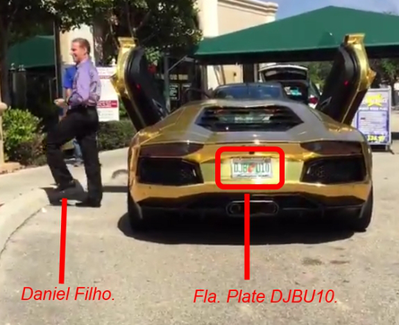 Arrested and jailed in July, alleged Ponzi schemer Dniel Fernandes Rojo Filho earlier was tooling around in this gold Lamborghini. From a YouTube video. Highlights by PP Blog.