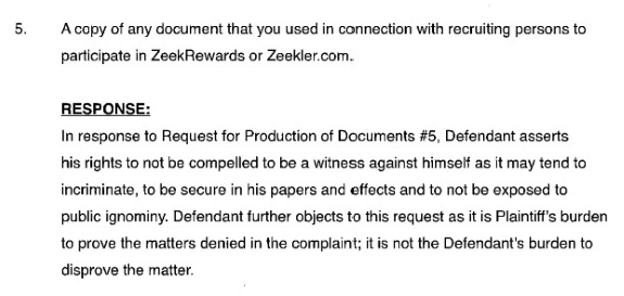 Miller's response to a request for document production by the receiver.