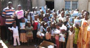 Children receiving supplies