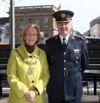 Cllr Rosaleen O'Grady (Mayor of Sligo) with Garda Commissioner Kieran Kenny.