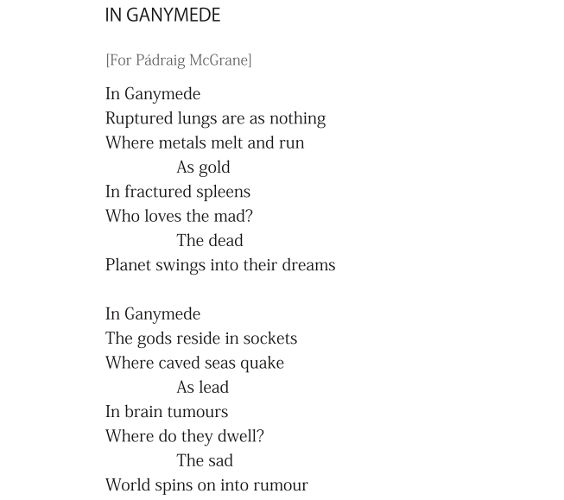 In Ganymede - extract from the poem by Patrick Stack