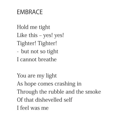 Embrace (first two stanzas) by Patrick Stack