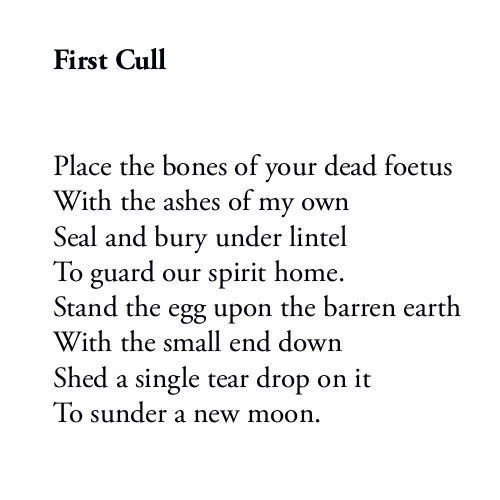 First Cull - the first stanza