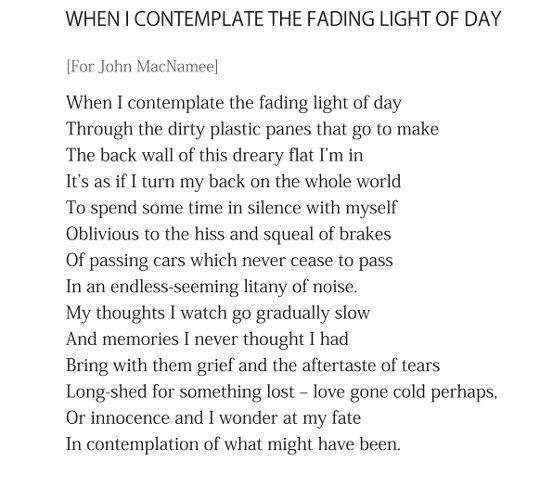 When I Contemplate the Fading Light of Day - by Patrick stack