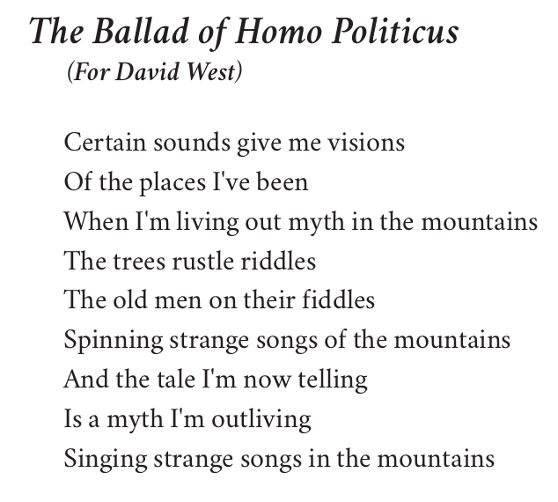 The Ballad of Homo Politicus (first stanza) by Patrick Stack
