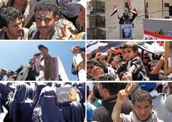 Among the crowds in Sanaa are an aspiring politician, and Wabia Sabra, veiled