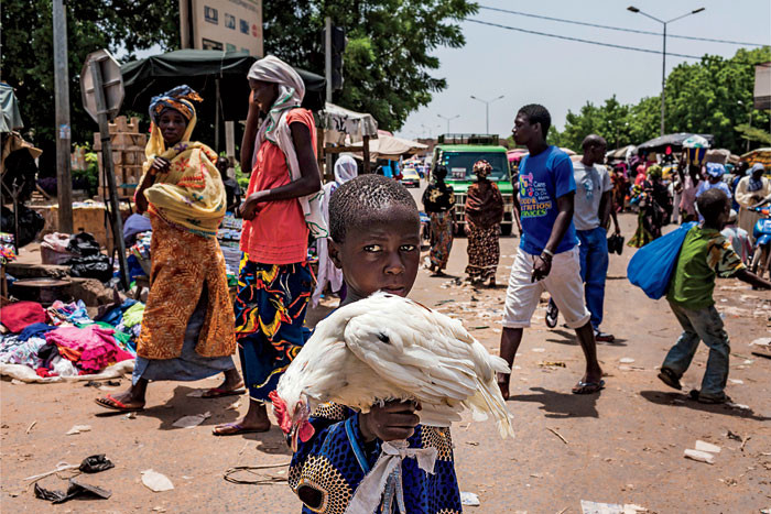 A Malian child holding a chicken in a Bamako market.   Photo: Marco Di Lauro/Reportage by Getty Images
