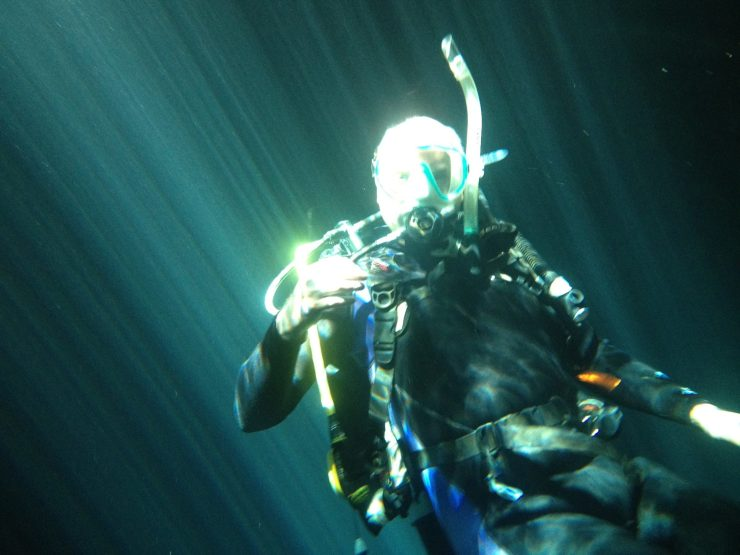 Patrick Symmes during final exam for Rescue Diver certification