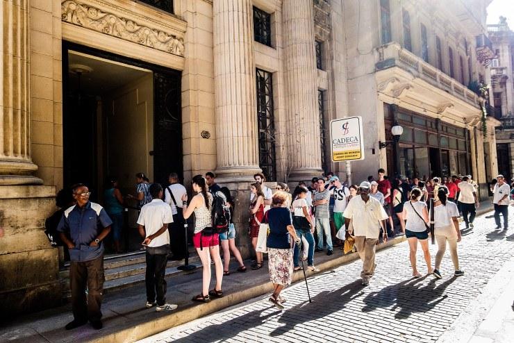 Lining up to exchange currencies in Old Havana.