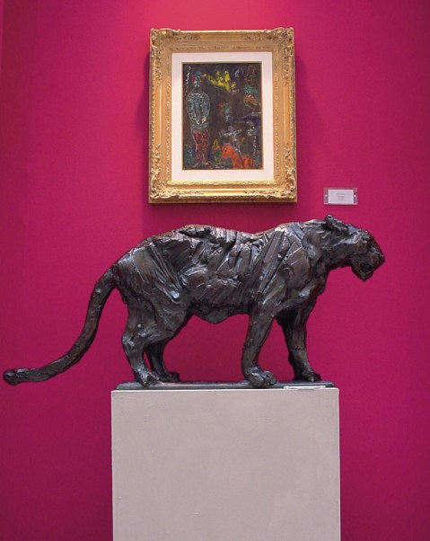 Amur Panther (sold) 100x85cm 1/3 at Olympia London with painting by Chagall