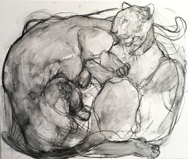 Two Panthers Charcoal on canvas 140x122cm ©2016
