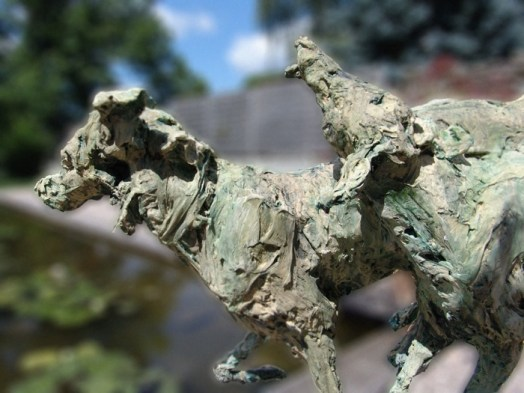 Detail Playing Dogs original in paper 102 x 80 cm bronze edition of 8