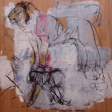 Mixed Lions 126x122cm mixed media on board 2013