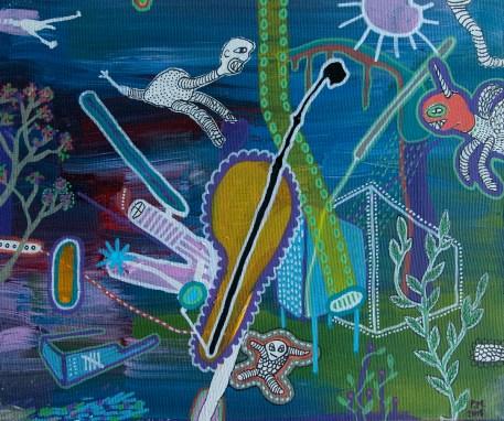 the unicorn on acid 2015 acrylic and paint on canvas 22×27 cm 1 Obra: R$ 490.00 3 Obras: R$ 900.00