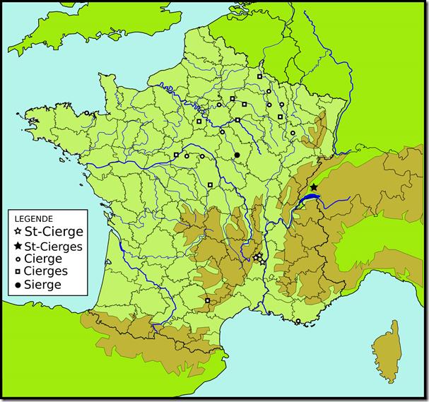 Toponymes Saint-Cierge Cierge