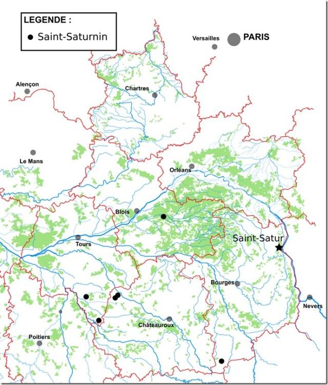 Les toponymes Saint-Saturnin et St-Satur en Région Centre