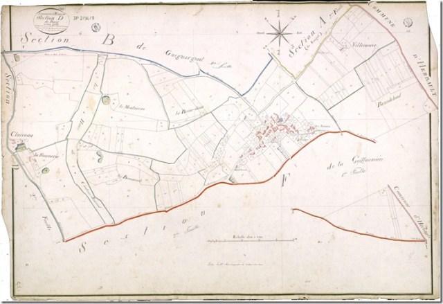 Cadastre ancien de Françay (41) Section D du Bourg, 1ère feuille