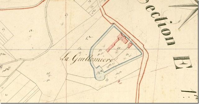 Cadastre ancien de Françay (41) Section E de la Guillommière 2ème feuille (détail)