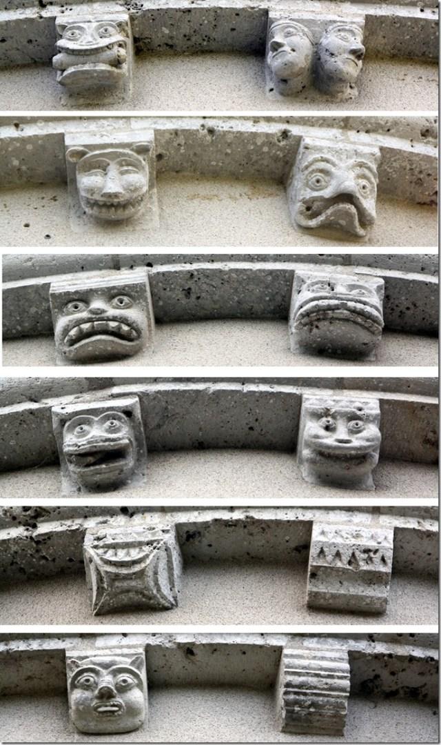 Modillons du chevet de l'église Notre-Dame de Françay