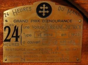 ldlemans4-plaque3-300x224 Lorraine Dietrich B3-6 Le Mans 1925 (n°4) Lorraine Dietrich Lorraine Dietrich B3-6 Le Mans 1925 (n°4)