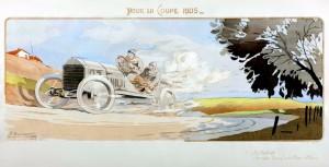 Pour la Coupe 1905. Le De Dietrich d'Arthur Duray pendant les essais éliminatoires françaises pour la course 1905 Coupe Gordon Bennett
