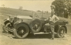 Frank Wright and his 14-40 Vauxhall near Ballan Mineral Springs, 1930