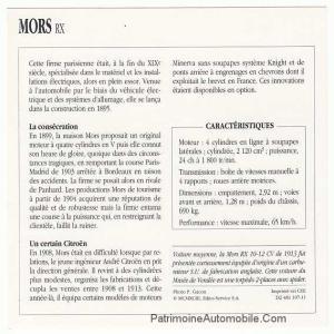 Mors-RX-fiche-300x300 Mors 1913 Cyclecar / Grand-Sport / Bitza Divers Voitures françaises avant-guerre