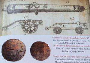 Cañones y proyectiles de un manual de artillería de 1705.