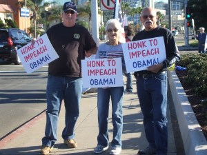 Impeach Obama protest in 2010, when fingers still outnumbered honks.