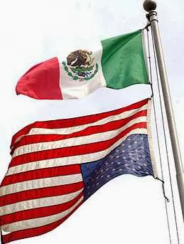 Mexican flag flown over inverted American flag