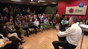 Obama meets with a few illegal aliens  and lawless radical supporters in Nashville