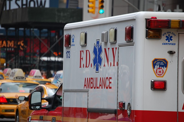 A side view of a New York Fire Department Ambulance
