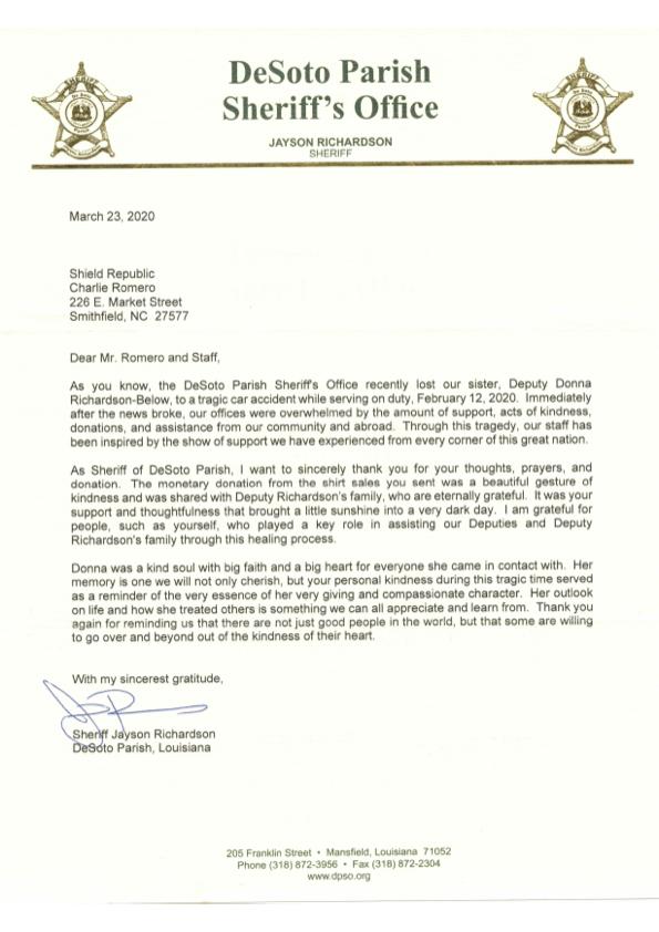 DeSoto Parish, LA Sheriff Jayson Richardson Thank you fundraiser donation