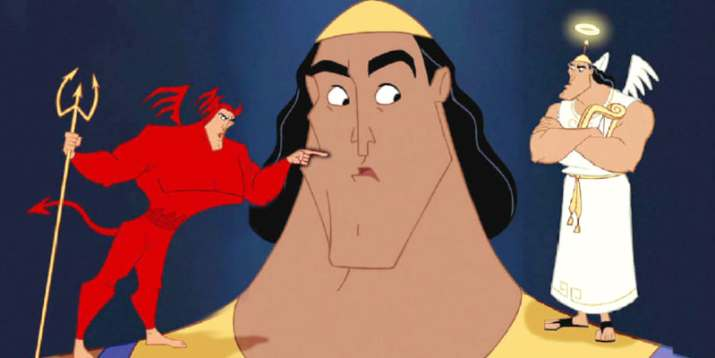Kronk with and Angel version of himself and a Devil version of himself arguing on his shoulders