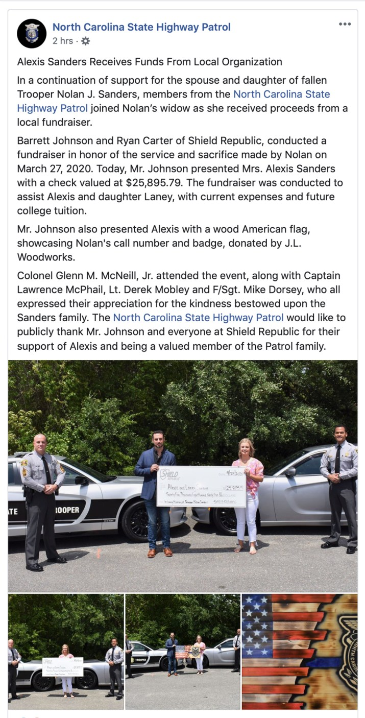 Shield Republic receives thank you from North Carolina State Troopers