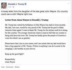 John Wayne Daughter Donald Trump