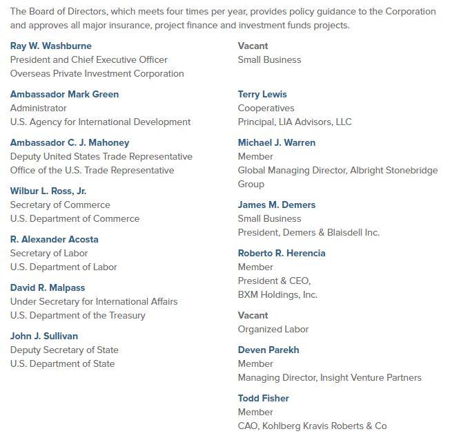 OPIC board of directors