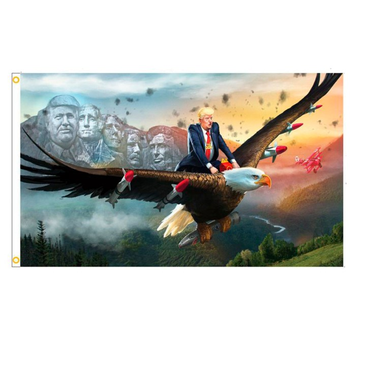 Trump Riding Eagle Flag W/Mt. Rushmore