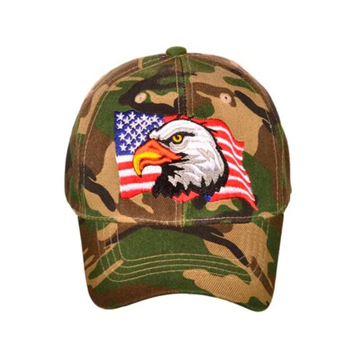 Woodland Camo Flag & Eagle Cap
