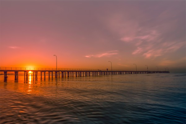 Victoria Melbourne Australia Altona Beach Reflections horizon Magenta Purples Colourful sky City Town Mist Misty Foggy Moody Harbour Patience Peaceful Stunning Tranquil Beautiful Colourful Photography Landscape photographer Nature photograph by professional Patrizia Acco Photographer Beach Colours Summer Landscape Beachscape Seascape Water Sunset Sunrise Oceans Sand Pillions Piers Old Jetty Jetty Jetties Bay Lake Altona Pier