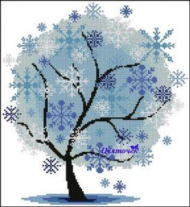 Gráfico de punto de cruz para descargar GRATIS en PDF, imprimir y bordar árbol nevado