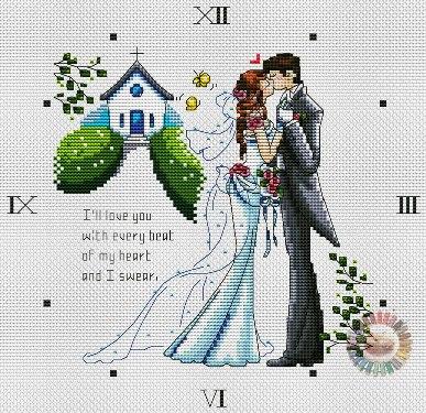Esquema de punto de cruz para descargar GRATIS en PDF, imprimir y bordar reloj con recuerdo de boda