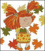 Esquema de punto de cruz para descargar GRATIS en PDF, imprimir y bordar dibujo infantil de niña en otoño