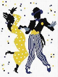 Gráfico de punto de cruz para descargar en PDF, imprimir y bordar pareja de baile