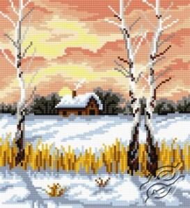 Gráfico de punto de cruz para descargar GRATIS en PDF, imprimir y bordar paisaje de invierno
