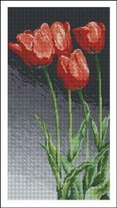 Esquema de punto de cruz para descargar GRATIS en PDF, imprimir y bordar tulipanes rojos