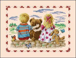 Esquema de punto de cruz para descargar GRATIS en PDF, imprimir y bordar dibujo infantil con niños y peluches