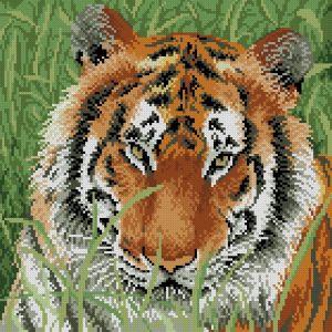 Gráfico de punto de cruz para descargar GRATIS en PDF, imprimir y bordar cabeza de tigre