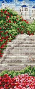 Gráfico de punto de cruz para descargar GRATIS en PDF, imprimir y bordar paisaje con escaleras de piedra